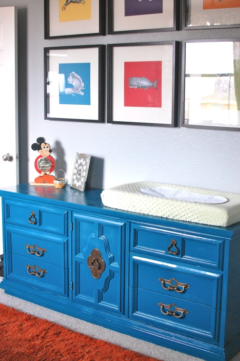 nursery teal dresser after