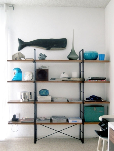 blue vases shelves