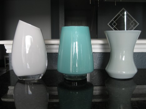 painted glass vases