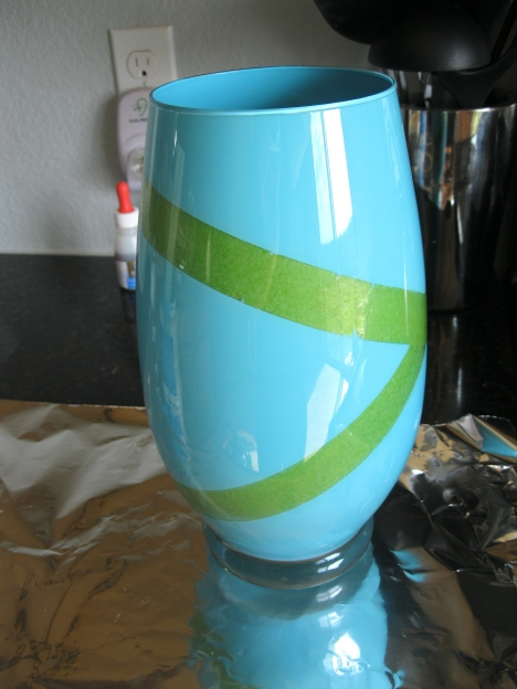 blue vase with tape